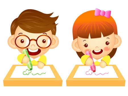 womankind: Boys and girls draws a picture with crayons. Education and life Character Design series.
