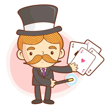 conjuror: The Magician mascot is a card trick playing. Work and Job Character Design Series.
