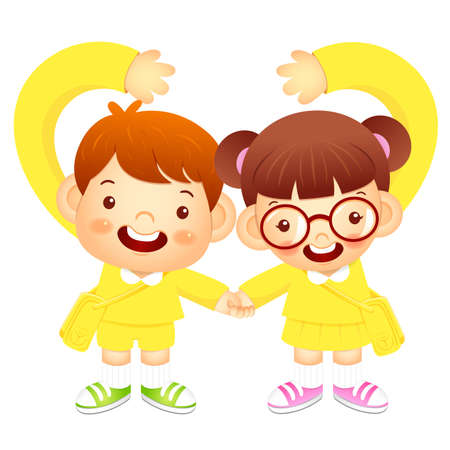 babygirl: Boy and girl holding hands tenderly, makes a love gesture. Education and life Character Design series. Illustration