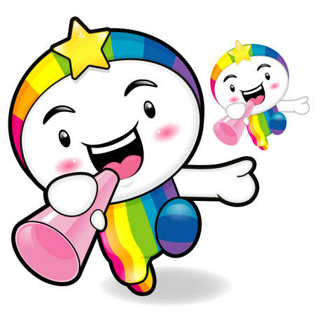 smart goals: Rainbow Mascot the  Left hand is holding a loudspeaker. Dream of Fairy Character Design Series.
