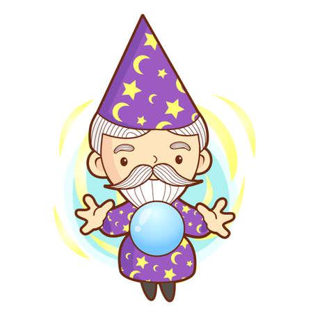 art work: Senior Wizard mascot practice the black art. Work and Job Character Design Series.