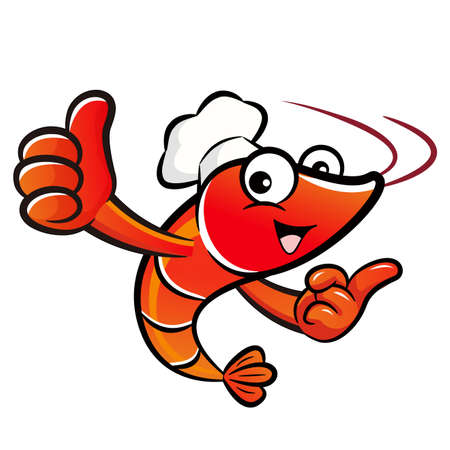 caballa: Shrimp chef Mascot the left hand best gesture and the right hand guides. Prawn Character Design Series.