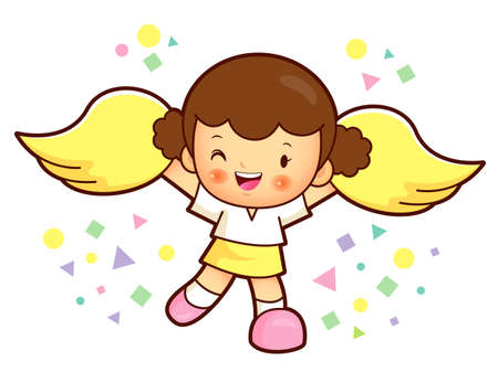 babygirl: The girl is a cheerleader cheering. Education and life Character Design serie. Illustration