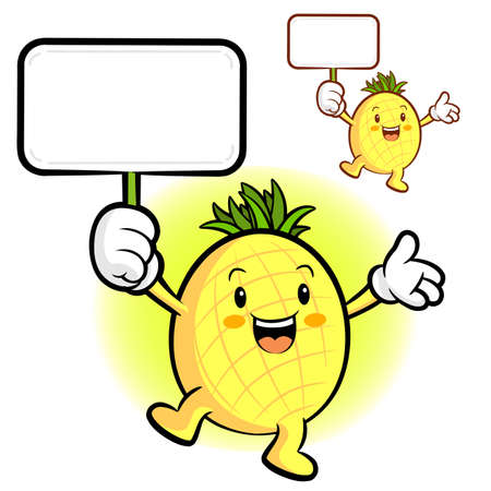 character design: The Pineapple mascot holding a board. Fruit Character Design Series.