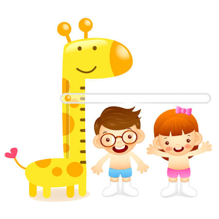 height measure: The boy and girl measure ones height. Education and life Character Design series.