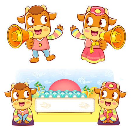 bullock: Bull and Cow Mascot the hand is holding a loudspeaker. Korea Traditional Cultural character design series. Illustration