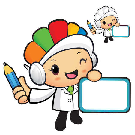 hygienist: Clinical Dietitian Mascot hand is holding a board and Pencil. Work and Job Character Design Series.