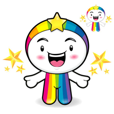 smart goals: Rainbow Mascot is a polite greeting. Dream of Fairy Character Design Series.
