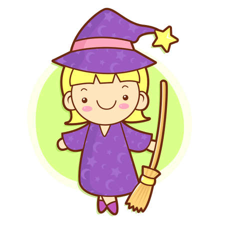 conjuring: Witch mascot and broom. Work and Job Character Design Series. Illustration