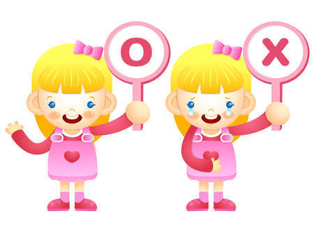 womankind: Girls are playing OX Quiz game. Education and life Character Design series.