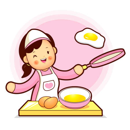 homemaker: Housewife Mascot have fried eggs. Home and Family Character Design Series.