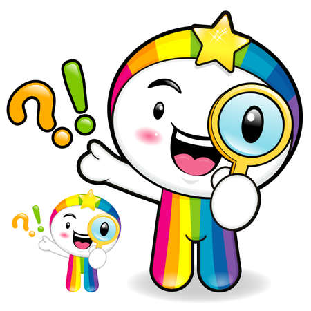 smart goals: Rainbow mascot examine a with a magnifying glass. Dream of Fairy Character Design Series. Illustration
