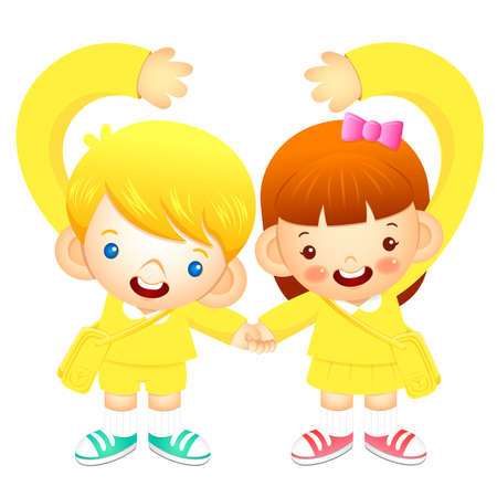 tenderly: Boy and girl holding hands tenderly, makes a love gesture. Education and life Character Design series. Illustration