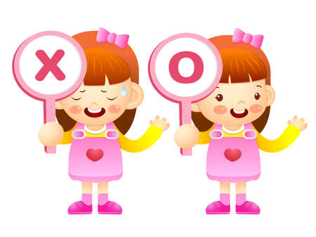 babygirl: Girls are playing OX Quiz game. Education and life Character Design series.