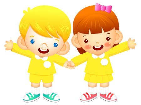 babygirl: Boy and girl is standing affectionately press hands. Education and life Character Design series.