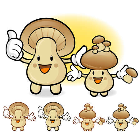 plantlife: Mushroom couple characters to promote Vegetable selling. Fungus Character Design Series. Illustration
