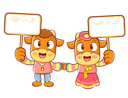 hanbok: The Bull and Cow mascot holding a big board. Korea Traditional Cultural character design series.