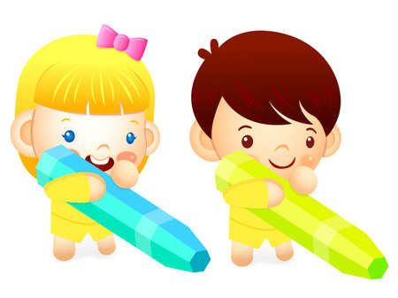 womankind: Boy and girl is holding a big crayons. Education and life Character Design series. Illustration
