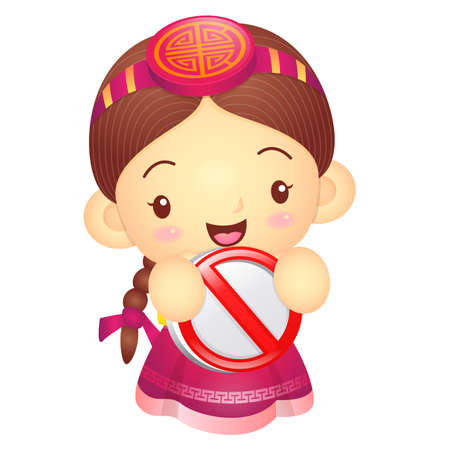 korea girl: Girl mascot holding a traffic signal is prohibited signs. Korea Traditional Cultural character design series. Illustration