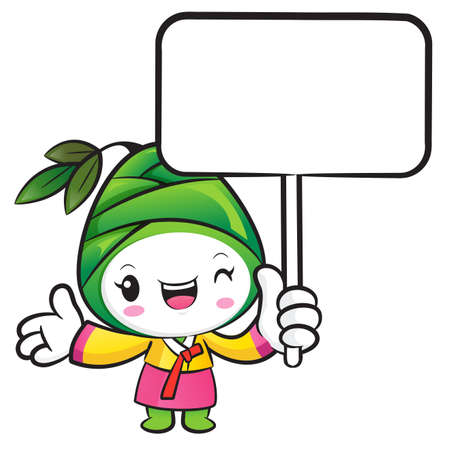 plantlife: The Bamboo shoot Character holding a board. Nature Character Design Series.