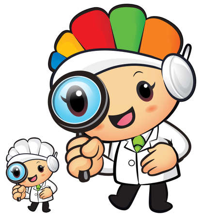 hygienist: Clinical Dietitian mascot look through a magnifying glass. Work and Job Character Design Series.