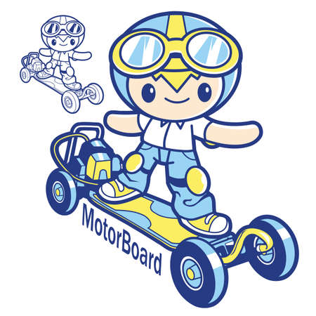 character design: Motor board mascot. Education and life Character Design series. Illustration