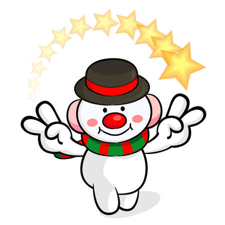 protestantism: Snowman Mascot victory gesture. Christmas Character Design Series.