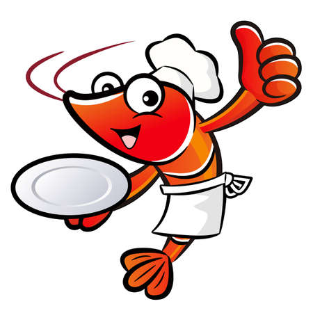 caballa: Chef Shrimp Mascot the Right hand best gesture and Left hand is holding a plate. Prawn Character Design Series. Illustration