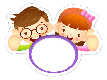babygirl: Boy and girl is holding a big board. Education and life Character Design series.