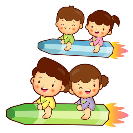 babygirl: Boy and girl is riding a big crayon. Education and life Character Design series.
