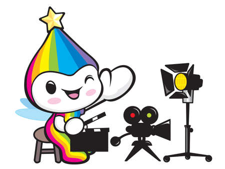 smart goals: Rainbow Mascot is playing movie shooting. Dream of Fairy Character Design Series.