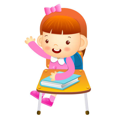 babygirl: The girl sat down on the chair. From the desk is talking. Education and life Character Design series.