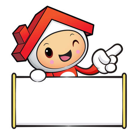 terraced: The House mascot holding a board. House and real estate Character Design Series.