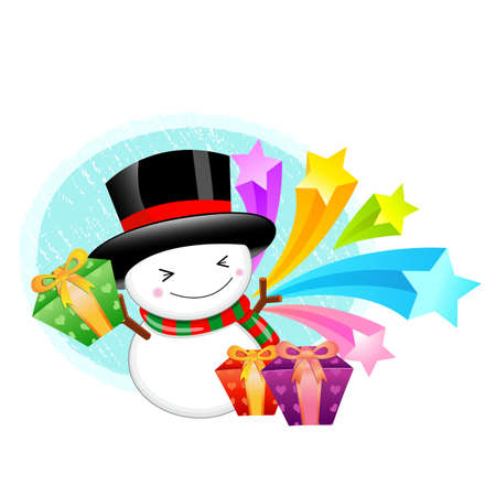 commemoration day: Snowman mascot the hand is holding a Gift Box. Christmas Character Design Series. Illustration