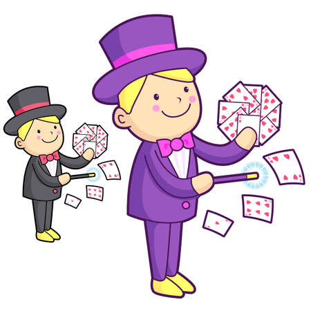conjuring: The Magician mascot is a card trick playing. Work and Job Character Design Series.