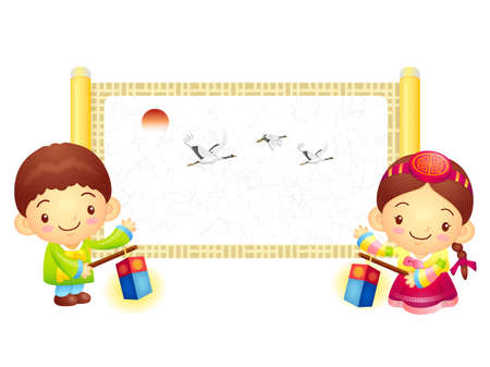 korea girl: The Boy and Girl Mascot is holding a lantern Building. Korea Traditional Cultural character design series.
