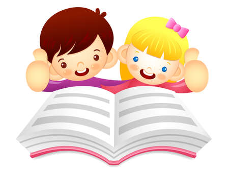 babygirl: Boys and girls are reading a large book. Education and life Character Design series.