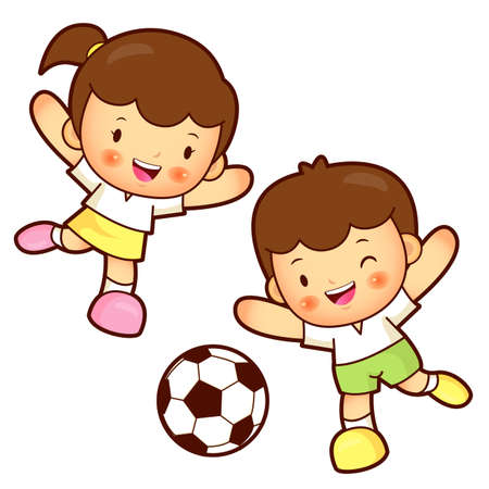 womankind: Boy and girl is playing Football. Education and life Character Design series.
