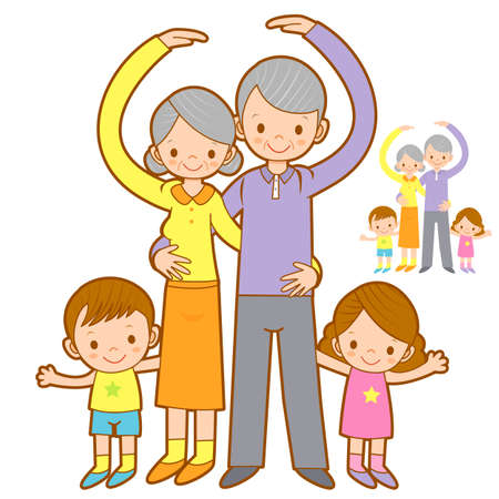 granny and grandad: Grandparents and Grandchildren Mascot love gesture. Home and Family Character Design Series.