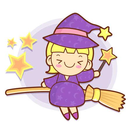 conjuror: Sorceress mascot riding a broom flies. Work and Job Character Design Series.