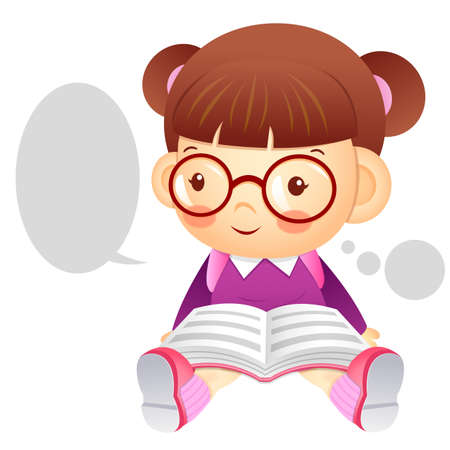 womankind: The girl is sitting and reading a book. Education and life Character Design series.
