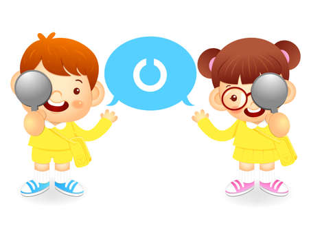 womankind: Boy and girl is have ones eyesight test. Education and life Character Design series.