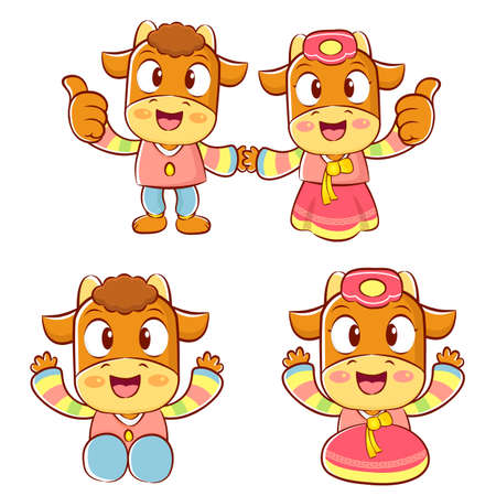 polite: Bull and Cow Mascot is a polite greeting. Korea Traditional Cultural character design series.