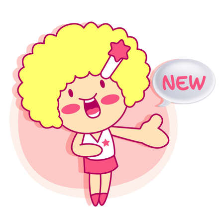 contentment: it girl mascot Sales promotion. Style Girl Character Design Series.