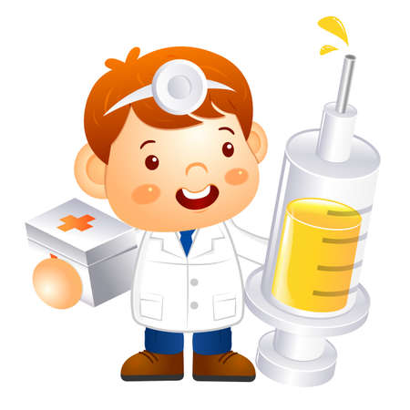 physical exam: Little doctor Kid is holding a large dice. Education and life Character Design series.