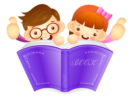 babygirl: Boys and girls are holding a big book. Education and life Character Design series.