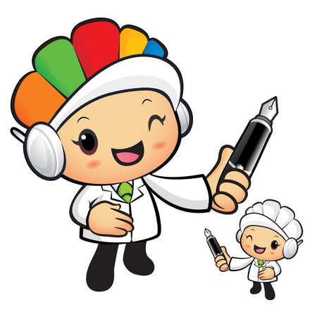 hygienist: Clinical Dietitian Mascot holding a big board with both Pen. Work and Job Character Design Series.