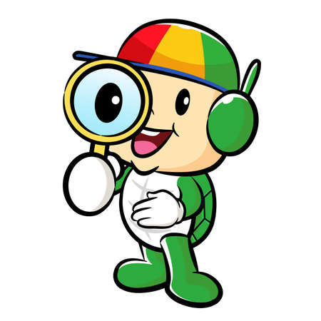thoroughfare: Turtle mascot examine a with a magnifying glass. Traffic and Road Character Design Series. Illustration