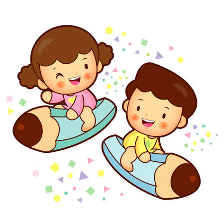 babygirl: The Boy and girl is sitting on up a large pencil. Education and life Character Design series.