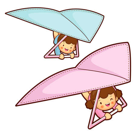babygirl: Boy and girl is riding a hang gliding in the sky. Education and life Character Design series. Illustration